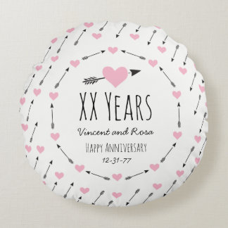 Hearts and Arrows Personalised Wedding Anniversary Round Cushion