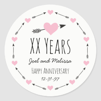 Hearts and Arrows Personalised Wedding Anniversary Round Sticker