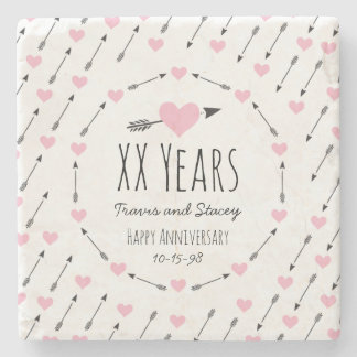 Hearts and Arrows Personalised Wedding Anniversary Stone Coaster