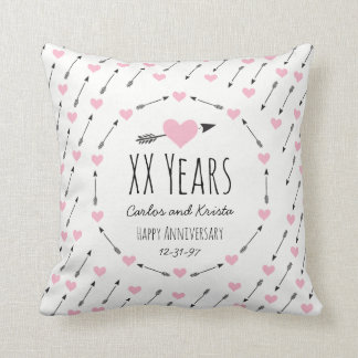 Hearts and Arrows Personalised Wedding Anniversary Throw Pillow