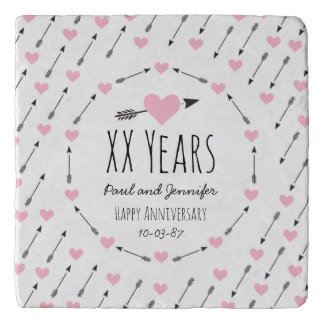 Hearts and Arrows Personalised Wedding Anniversary Trivet