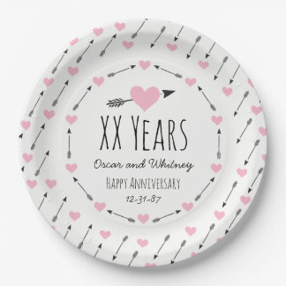Hearts and Arrows Personalized Wedding Anniversary Paper Plate