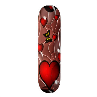 Hearts and Butterflies on an Abstract Background 20.6 Cm Skateboard Deck