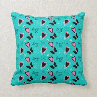Hearts and Butterflies Sweet 16 Pillow