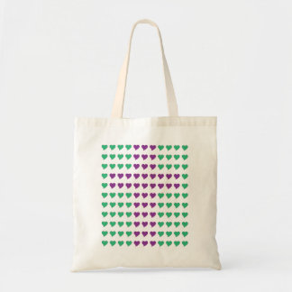 Hearts and Cross Green and Purple Bag