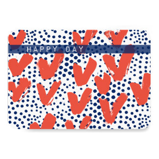 Hearts and Dots Happy Day Red and blue Flat card