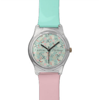 Hearts and Dragonflies Pretty Floral Wristwatches
