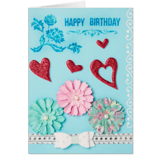 Hearts and Flower Birthday Card