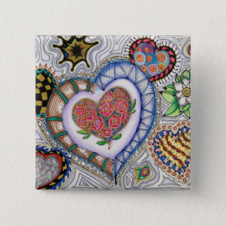 Hearts and Flowers (2 inch pin) 15 Cm Square Badge