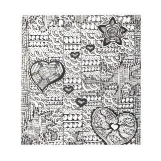 Hearts and Flowers Abstract Notepad