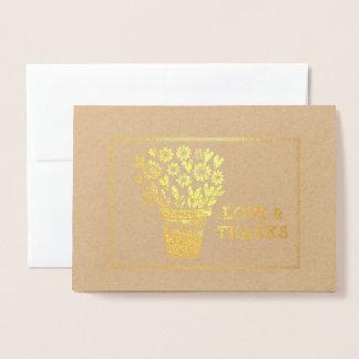 Hearts and Flowers Arrangement Framed Foil Card