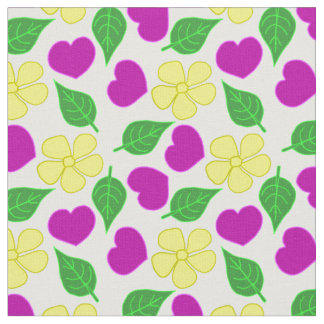 Hearts and Flowers Fabric