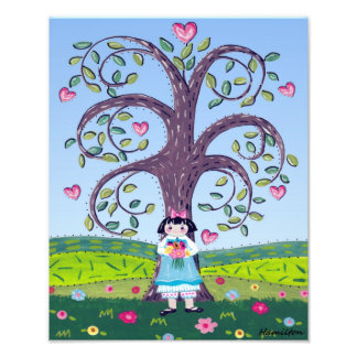 Hearts and flowers folk art girl photo print