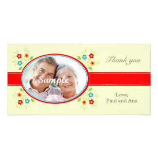 Hearts and flowers for Valentines Personalized Photo Card