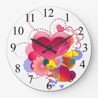 Hearts and Flowers Large Clock