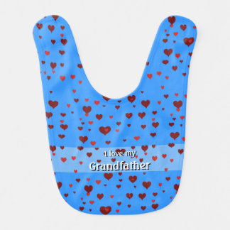 "Hearts and I love my ""name your grandfather"" bib"