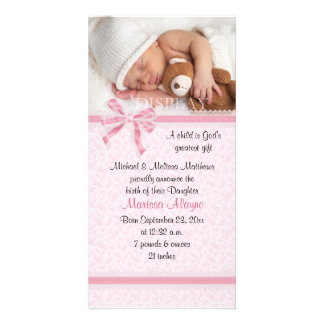 Hearts and Lace Photo Birth Announcement Card