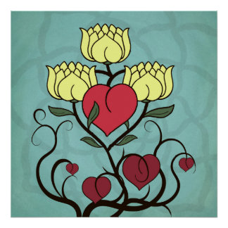 Hearts and Lotus Flowers Abstract Poster Print