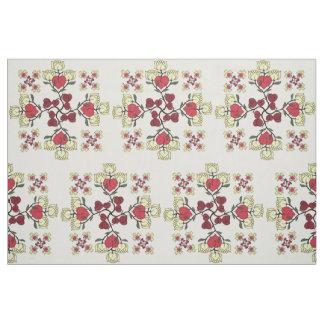 Hearts and Lotus Flowers Pattern Custom Fabric