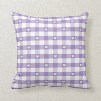 Hearts and Pastel Gingham Throw Pillow