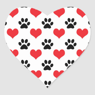 Hearts and paw prints pattern heart sticker
