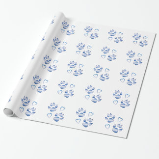 Hearts and Paws in Blue Wrapping Paper