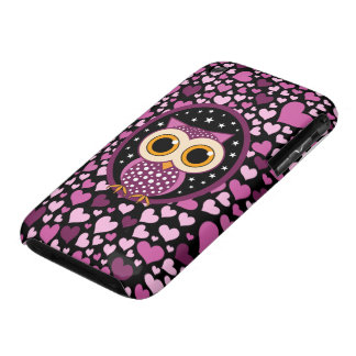 hearts and pink owl iPhone 3 cover