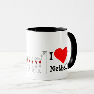 Hearts and Player Positions I Love Netball Mug
