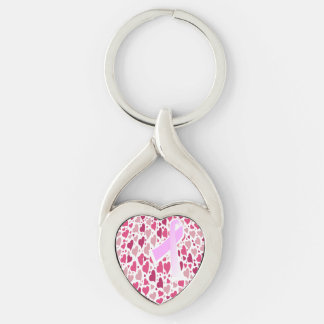 Hearts and Ribbon Breast Cancer Awareness Keychain