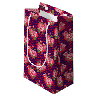 Hearts and Roses | Dotted Purple Valentine's Day Small Gift Bag