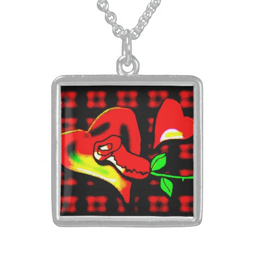 Hearts and roses rockabilly fun funky bold tattoo necklace