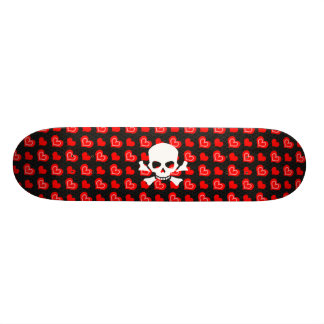 Hearts and skull on black skate boards
