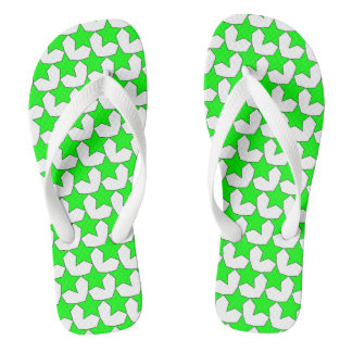 HEARTS AND STARS GREEN/WHITE FLIP-FLOPS THONGS