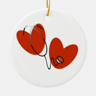Hearts and Stethoscope T-shirts and Gifts Ceramic Ornament
