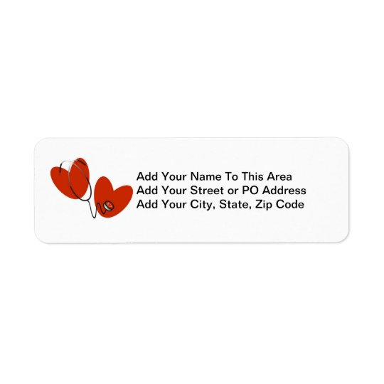 Hearts and Stethoscope T-shirts and Gifts Return Address Label