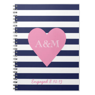 Hearts and Stripes Engaged Spiral Notebook