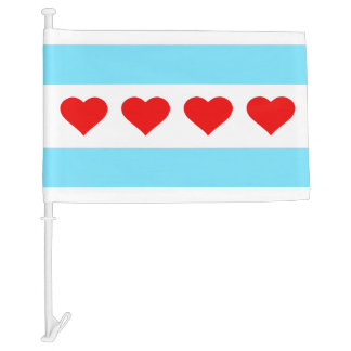 Hearts and Stripes Forever Car Flag
