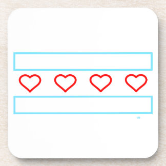 Hearts and Stripes Forever - open hearts flag Drink Coaster