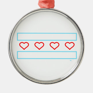 Hearts and Stripes Forever - open hearts flag Metal Ornament