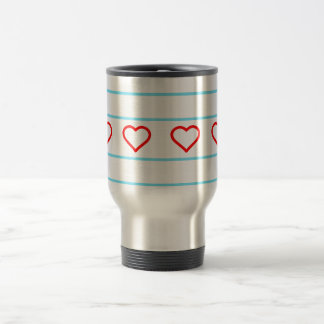 Hearts and Stripes Forever - open hearts flag Travel Mug