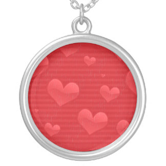 Hearts and Stripes in Distress Round Pendant Necklace