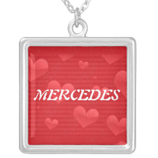 Hearts and Stripes in Distress Square Pendant Necklace