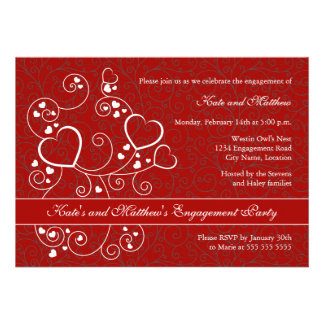 Hearts and Swirls Valentine s Day Engagement Party Personalized Invitation