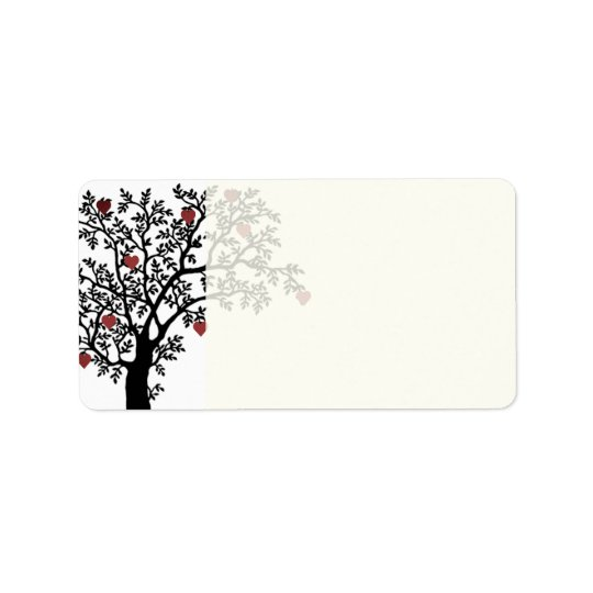 Hearts and Tree Design Address Label