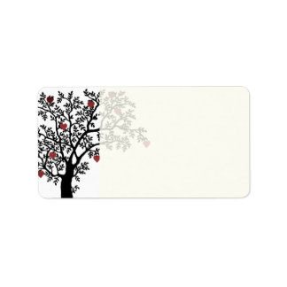 Hearts and Tree Design Label