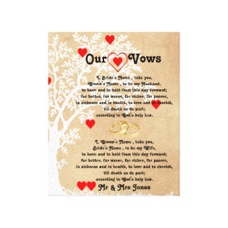 Hearts and Tree Wedding Vows on Canvas Canvas Print