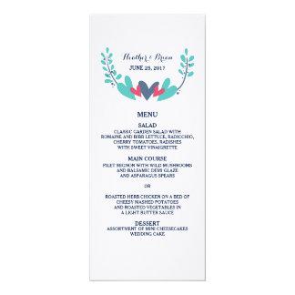 Hearts and Vines Wedding Menu Card