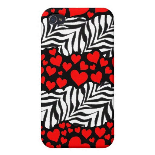 hearts and zebra stripes iPhone 4 cases