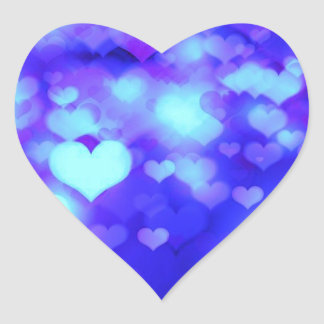 Hearts Bokeh Light Background blue Heart Sticker