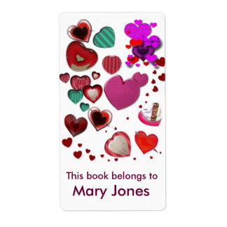 Hearts bookplate shipping label